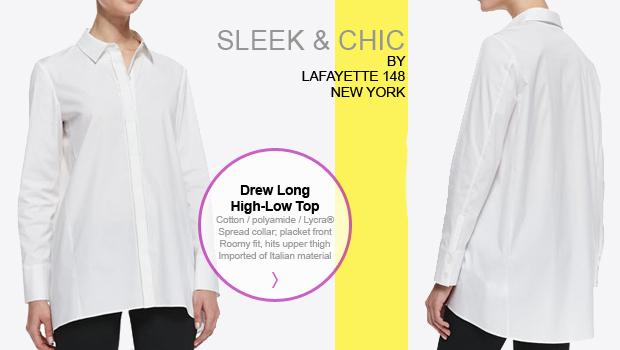 Sleek White Lafayette 148 Shirt - On the Go Fashion