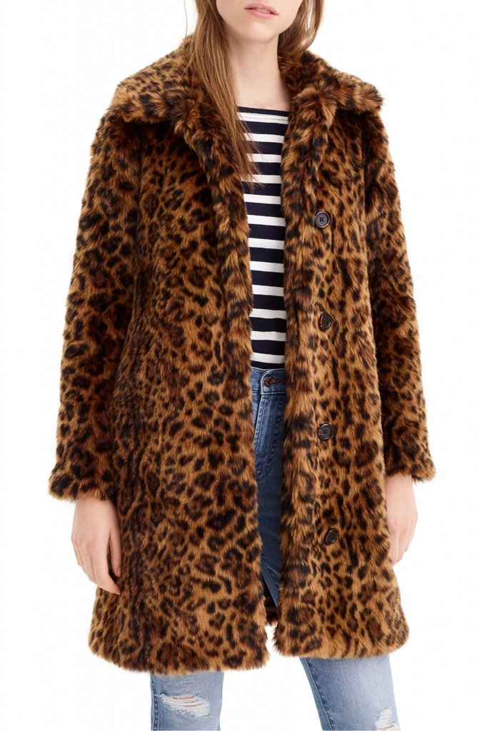 JCrew Leopard Print Coat