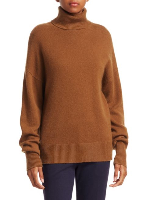 Theory Drop Shoulder Cashere Turtleneck in Caramel