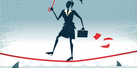 Abstract Businesswoman walks Tightrope with Confidence.