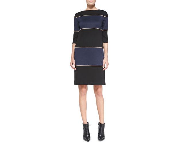 Ponte-Striped-Knit-Dress