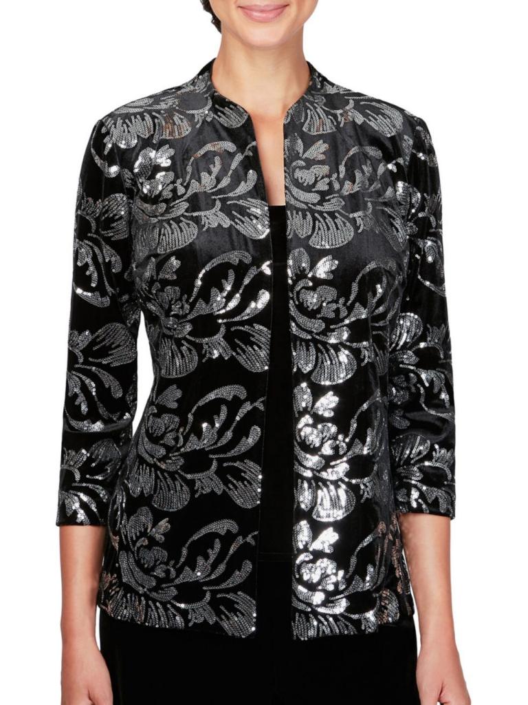Alex Evenings Two-Piece Tank Top & Sequin Jacket Velvet Set