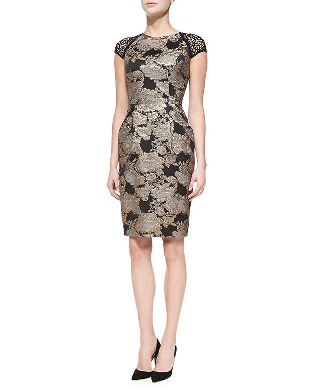 GET THE LOOK: Carmen Marc Valvo, Cap Sleeve Beaded Brocade Cocktail Dress, $680 >