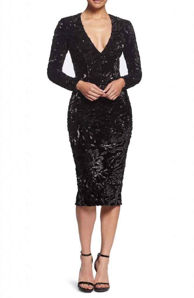Dress the Population Sequin & Velvet Midi Sheath Dress