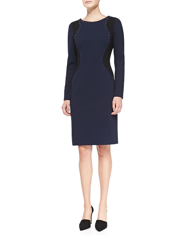 GET THE LOOK: NYDJ, Portia Long-Sleeve Contour Sheath Dress, $148 >