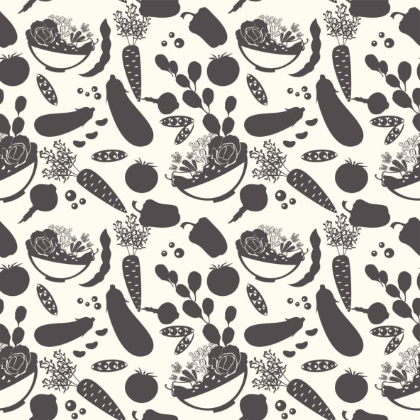 Seamless pattern with silhouettes of vegetables