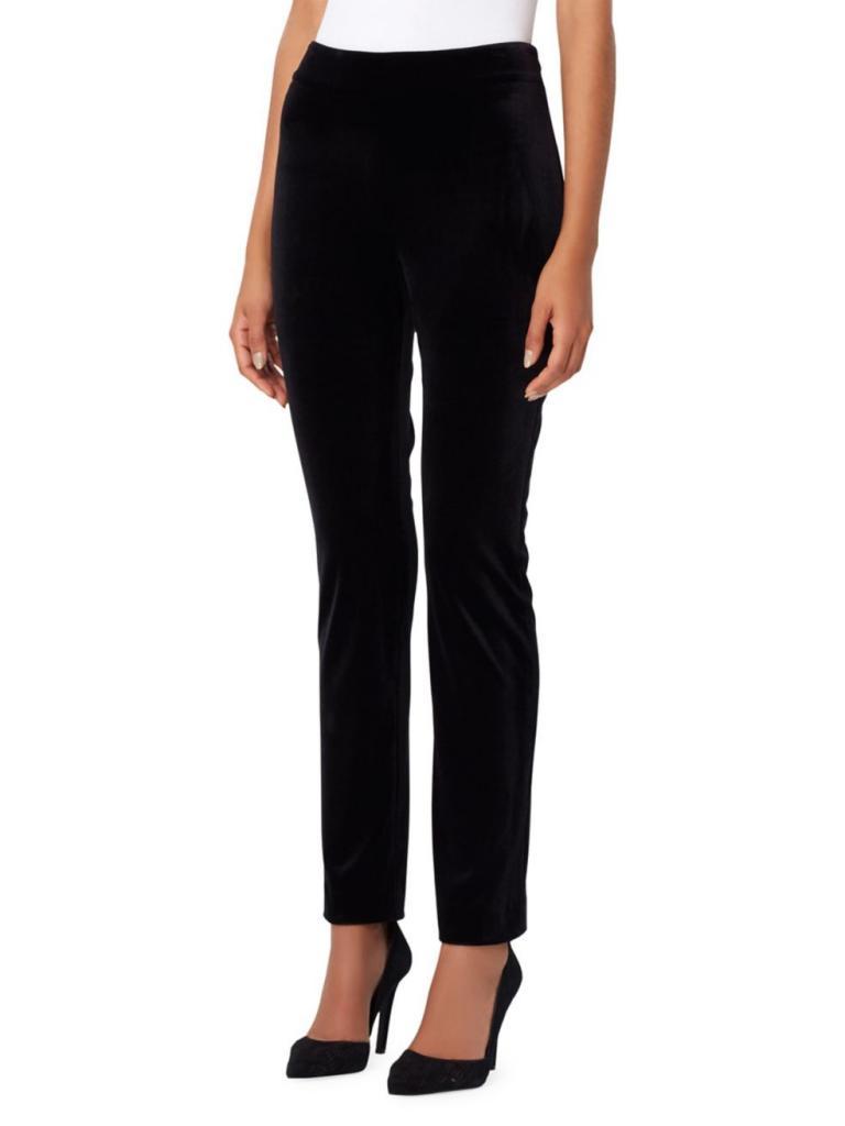 Tahari Arthur S. Levine Velvet Side-Zip Pants