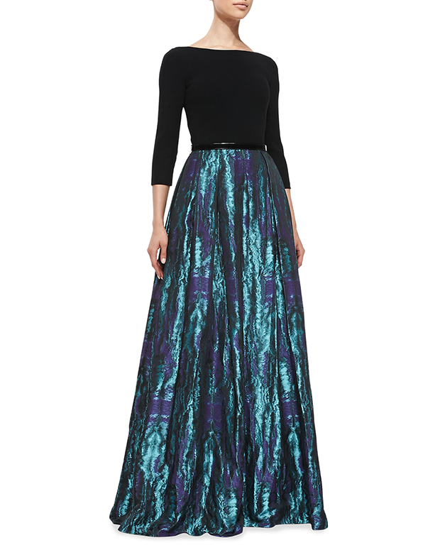GET THE LOOK: Theia, ¾ Sleeve Floral Print Skirt Gown, $1,095 >
