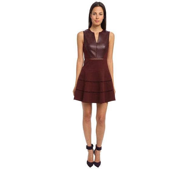 GET THE LOOK: Tibi, Leather Ponte Sleeveless V-Neck Dress, SALE $486.99 >