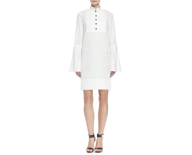 GET THE LOOK: Alexander McQueen, Bib-Front Mandarin Collar Tunic Dress, $1,175 >