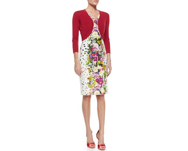 GET THE LOOK: Carolina Herrera, Floral Length Confetti-Print Sheath Dress, $1,990 >