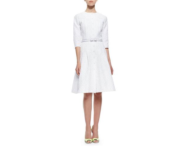 GET THE LOOK: Carolina Herrera, Three-Quarter Sleeve Bubble Jacquard Shirtdress, $2,690 >