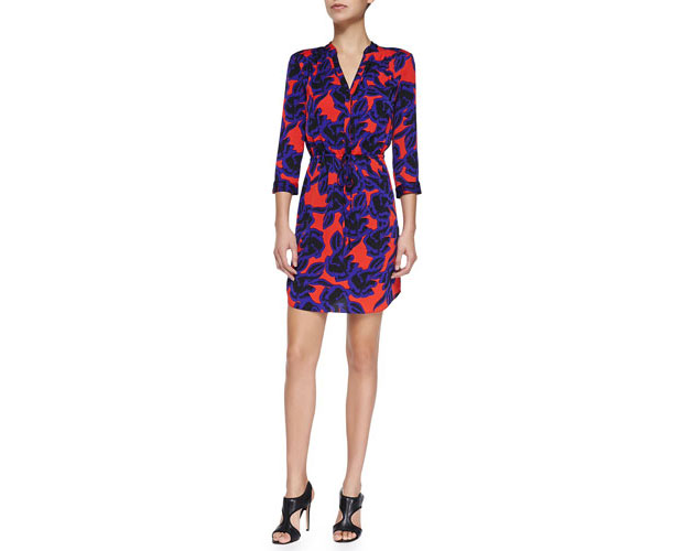 GET THE LOOK, Diane von Furstenberg, Freya Tie-Waist Stretch Silk Dress, $398 >