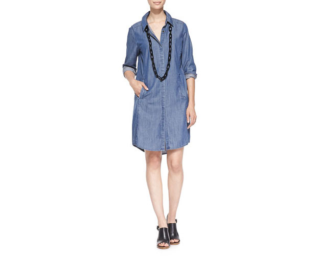 GET THE LOOK: Eileen Fisher, Denim Long Sleeve Dress with Pockets, $238 >