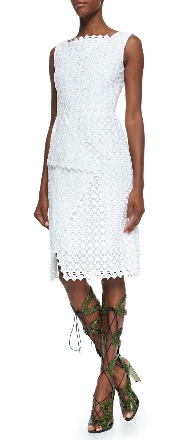 GET THE LOOK: Erdem, Sleeveless Square-Neck Lace Dress, $2,130 >