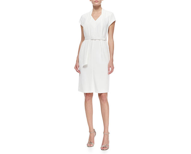 GET THE LOOK: Escada, Short-Sleeve Belted Drape-Collar Dress, $1,450 >