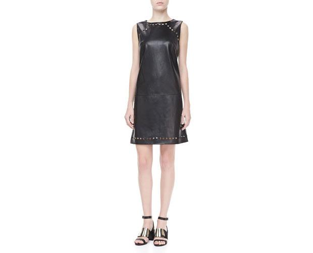 GET THE LOOK: Escada, Dot Cutout Leather Dress, SALE $866 >