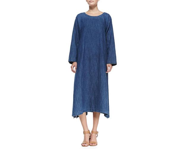 GET THE LOOK: Eskandar, A-line Denim Shift Dress, $540 >