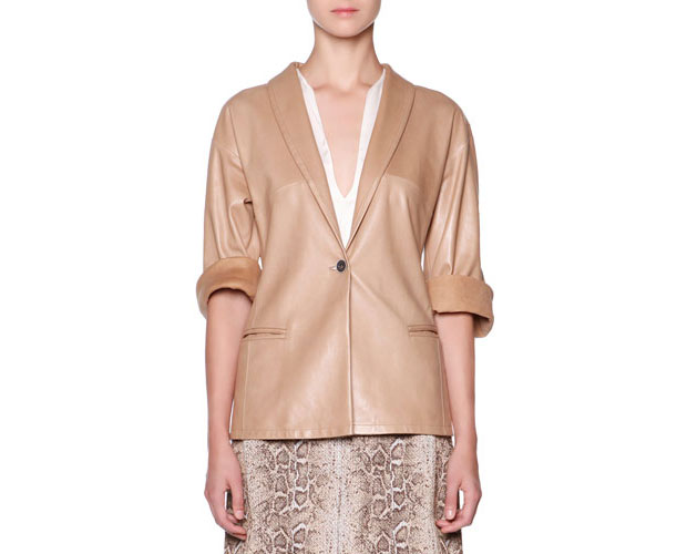 GET THE LOOK: Giorgio Armani, Lambskin One-Button Jacket, $6,100 >