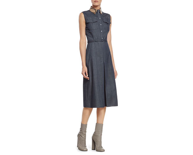 GET THE LOOK: Gucci, Denim Dress with Python Collar, $2,400 >