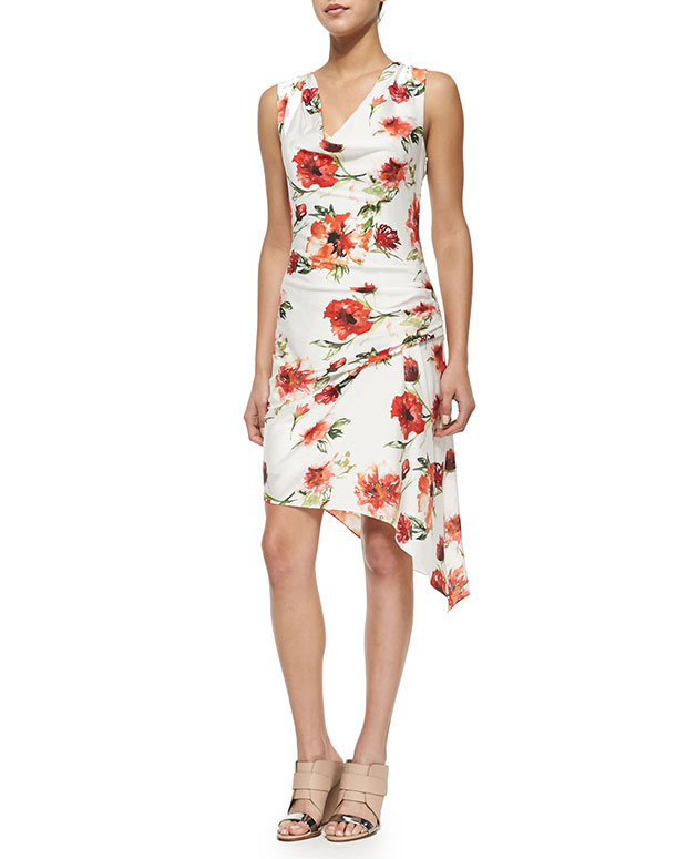 GET THE LOOK, Haute Hippie, Floral-Print Gathered Silk Dress, $425 >