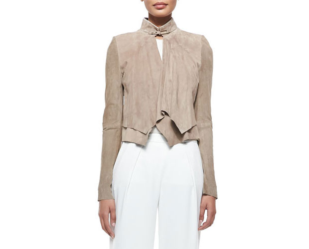 GET THE LOOK: Halston, Heritage Cropped Suede Overlay Jacket, $995 >