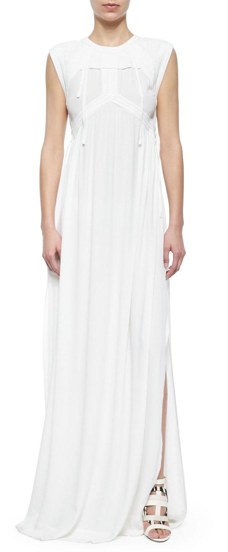 GET THE LOOK: IRO, Cap-Sleeve Pleated Long Dress, $508 >