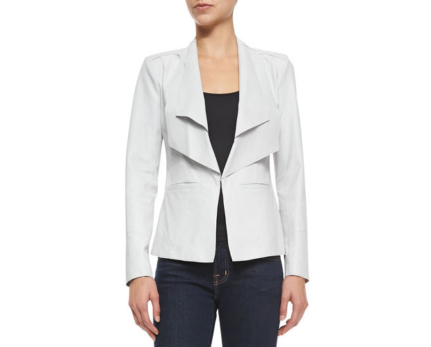 GET THE LOOK: LaMarque, Long Leather Jacket W Double Collar Cloud Leather Jacket, $455 >