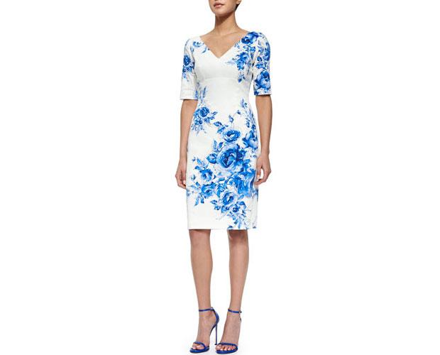 GET THE LOOK: Lela, Rose Floral-Print Elbow Sleeve Sheath Dress, $1,295 >