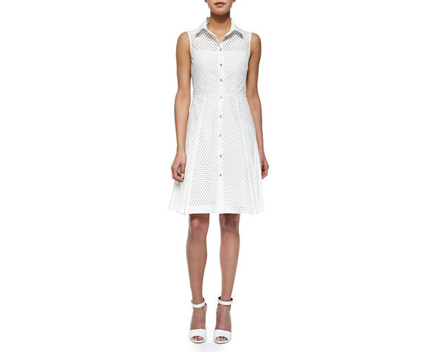 GET THE LOOK: Lela Rose, Side-Pleated Mesh Shirtdress, $1,195 >