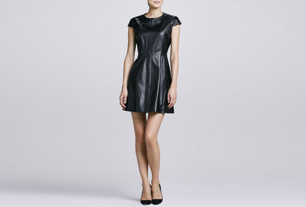 GET THE LOOK: Neiman Marcus, Leather Fit and Flare Dress, SALE $89.86>