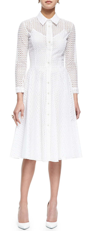 GET THE LOOK: Oscar de la Renta, Swiss Allover Eyelet Shirtdress, $ 3,290 >