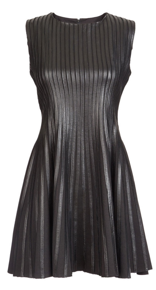 GET THE LOOK: Scoop, Fit & Flare Strip Leather Dress, SALE $299 >