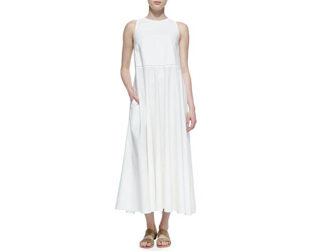 GET THE LOOK: THE ROW, Hera Long Sleeveless Dress, $1,350 >