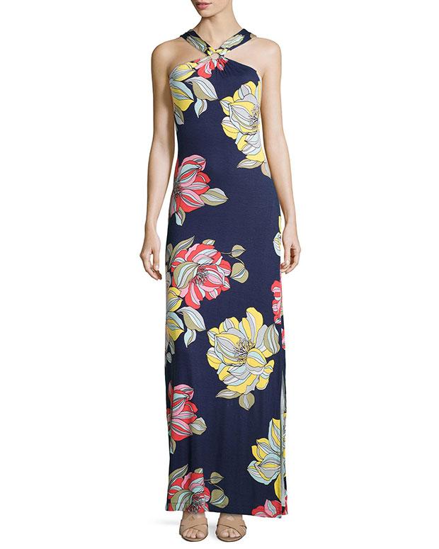 GET THE LOOK: Trina Turk, Demi Floral-Print Maxi Halter Dress, $298 >