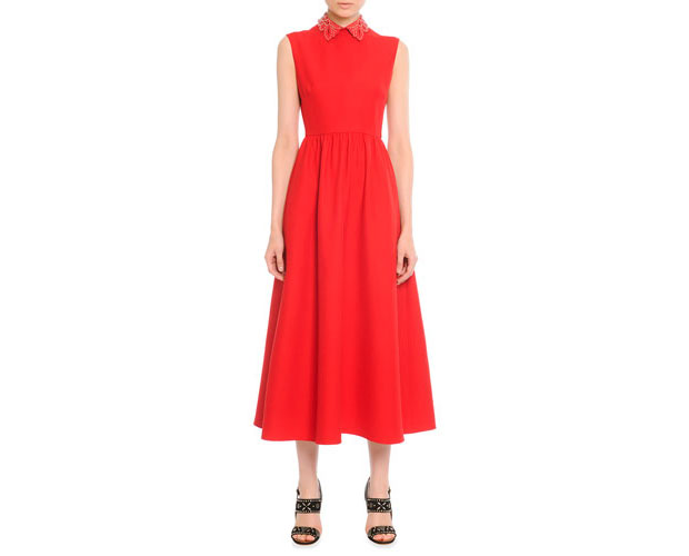 GET THE LOOK: Valentino, Leather Collared Tea-Length Dress, $4,990 >