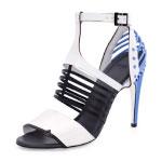GET THE LOOK: Fendi, Cage-Front Metal Heel Sandal, $1,350  >