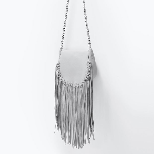 GET THE LOOK: Zara, Fringe Leather Messenger Bag, $69.90 >