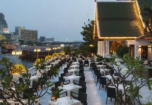 Mandarin Oriental Terrace overlooking the river.