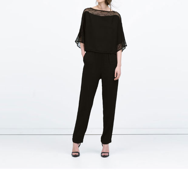 GET THE LOOK: Zara, Combined Tulle Jumpsuit, $99.90 >