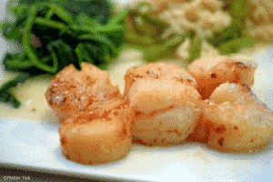 Seared Scallops pairs well with South American red wine