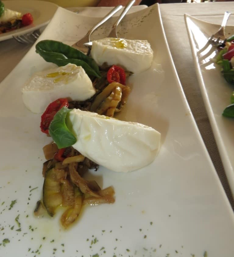 Burrata atop Zucchini Matchsticks