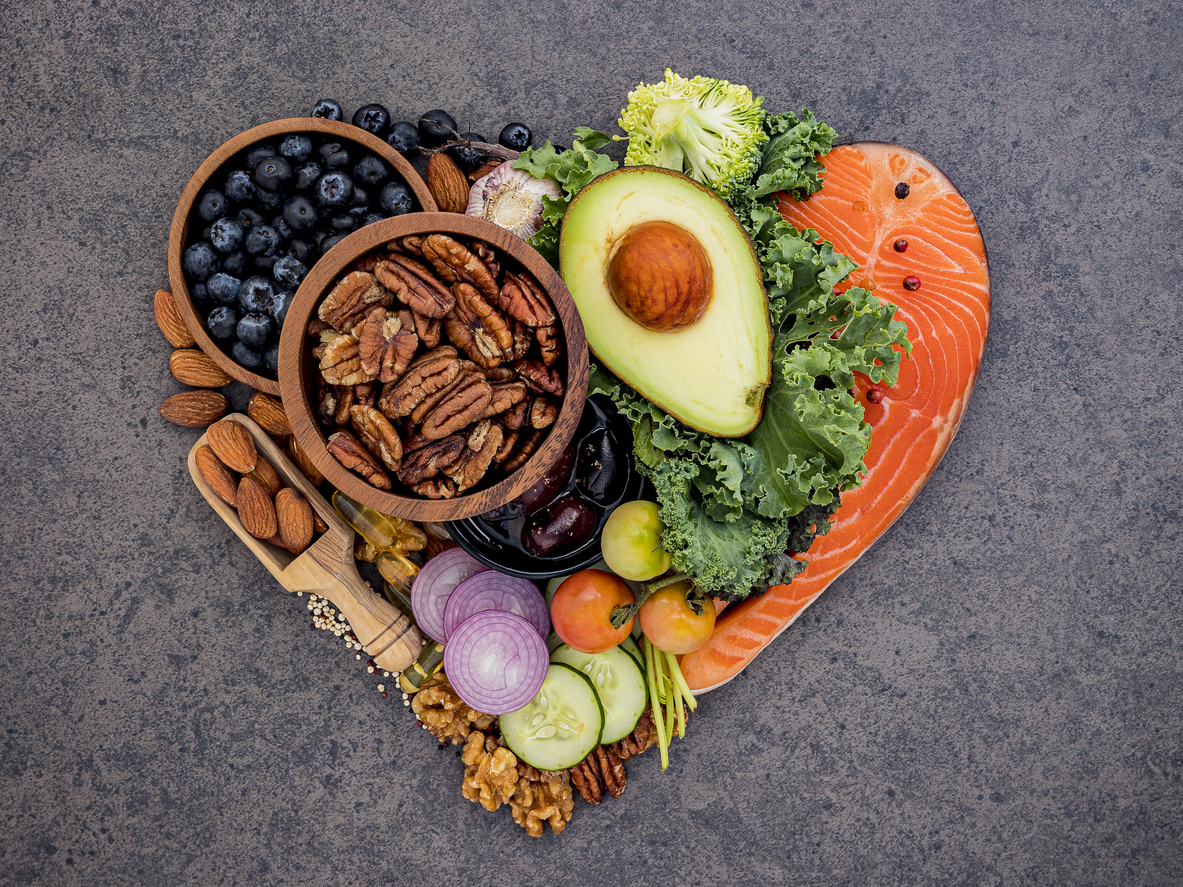 Eating wisely with fish, veggies, fruits, and nuts.