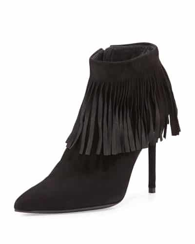 Pointed Toe Fringed Bootie