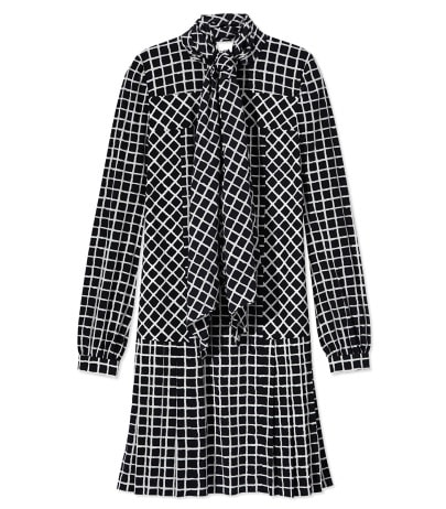 Nave Grid Silk Dress