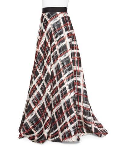 Plaid Satin Skirt