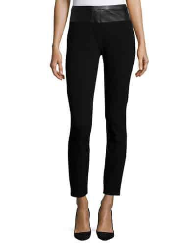 Leather-Waist Skinny Pants