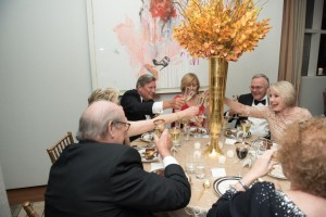 Judy Ninman proposing a toast.