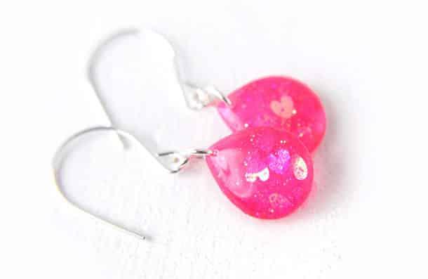 Heart Glitter Teardrop Earrings