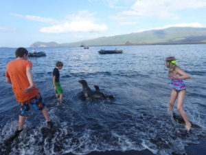 Playing on a Galapagos beach